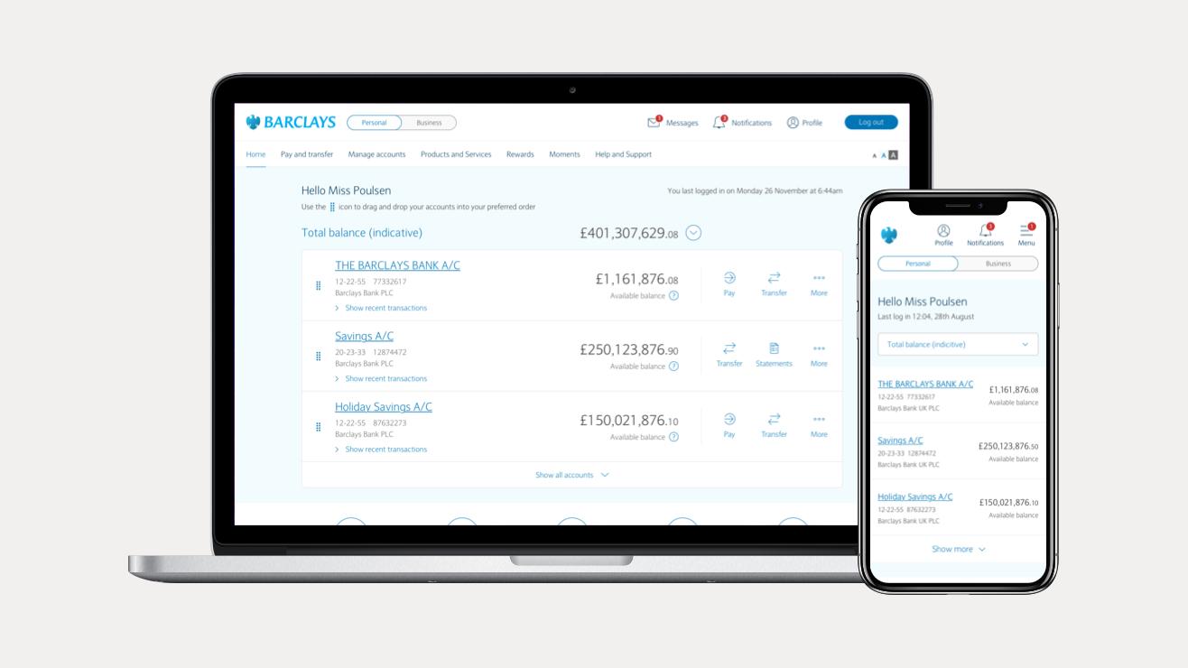 New online banking screenshot